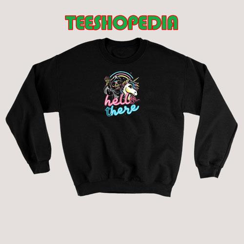 Hello There Unicorn Sweatshirt Halloween Skeleton Size S – 3XL